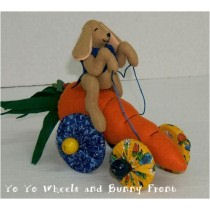 "Bunnies about 5"" tall sitting. Carrots about 7"" long without fronds - Free Cloth Doll Pattern"